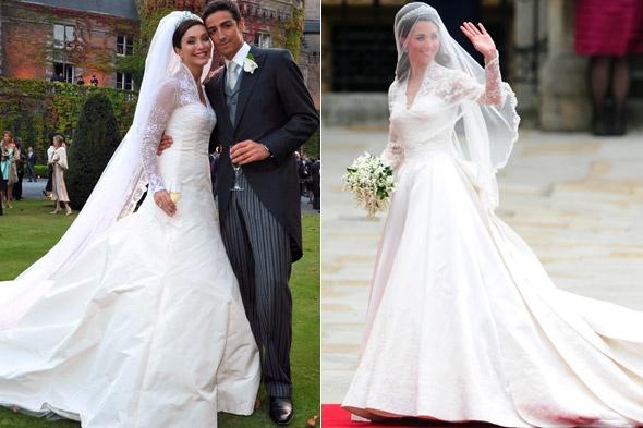 40249582f7b Это было классическое свадебное платье А-силуэта с длинными кружевными  рукавами