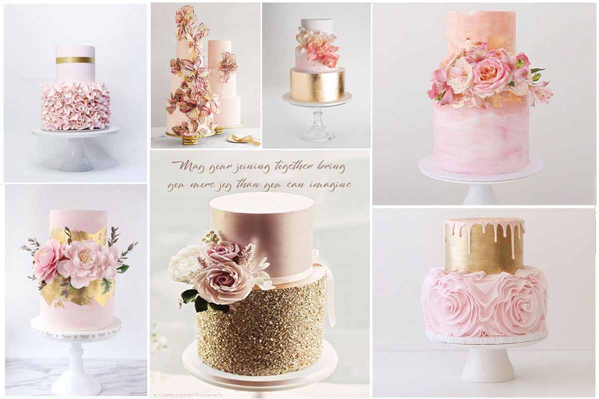 pink cake wedding